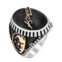 Işık Mustafa Kemal Atatürk İmzali Atatürk Silüetli 925 Ayar Gümüş Yüzük