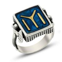 Işık Kayı Boyu Mavi Mineli Balta Şekilli 925 Ayar Gümüş Yüzük
