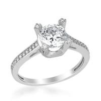Anı Yüzük 925 Ayar Gümüş Zirkon Taşlı Tek Taş Kadın Yüzüğü