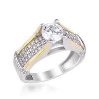 Anı Yüzük 925 Ayar Gümüş Zirkon Taşlı Tek Taş Model Rose Kadın Yüzüğü
