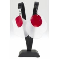 Biggbijoux Beyaz-Kırmızı Küpe