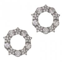 Biggbijoux Barkıel Yuvarlak Taşlı Küpe-Gümüş Renkli