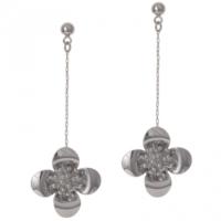Biggbijoux Barkıel Çiçek Uzun Küpe-Gümüş Renkli