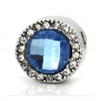 Angemıel Mavi Kristal Charmlı Yuvarlak Gümüş Charm İle Kendi Tarzını Yarat