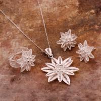 Sümer Telkari Nilüfer Çiçeği Telkari Elişi Gümüş Set 1509
