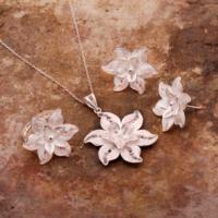 Sümer Telkari Rozet Çiçeği Telkari Elişi Gümüş Set 1542