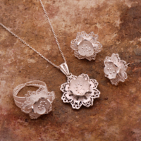 Sümer Telkari Açelya Çiçeği Telkari Elişi Gümüş Set 1544