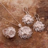 Sümer Telkari Kadife Çiçeği Telkari Elişi Gümüş Set 1545