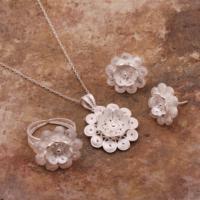 Sümer Telkari İpek Çiçeği Telkari Elişi Gümüş Set 1546