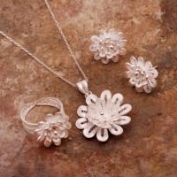Sümer Telkari Aynısefa Çiçeği Telkari Elişi Gümüş Set 1549