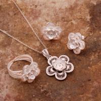 Sümer Telkari İpek Çiçeği Telkari Elişi Gümüş Set 1557