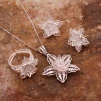 Sümer Telkari Zambak Çiçeği Telkari Elişi Gümüş Set 1560