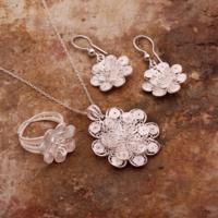 Sümer Telkari Gardenya Çiçeği Telkari Elişi Gümüş Set 1562