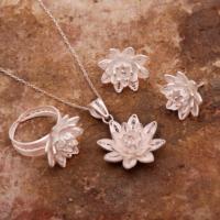 Sümer Telkari Lotus Çiçeği Telkari Elişi Gümüş Set 1564