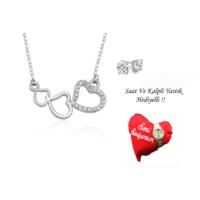 Forentina Gümüş Kaplama Kalp Kolye Küpe - Fr0445