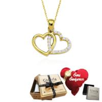 Glorria Sevgililer Gününe Özel Altın Kalp Kolye - Hediye Seti - Vk0417-Hs