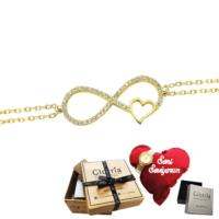 Glorria Altın Kalpli Sonsuzluk Bileklik - Hediye Seti - Vk0078-Hs Vk0078-Hs