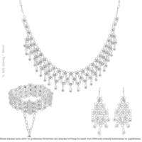 Çağrı Gümüş Mardin Gümüş Kişniş Set Takı 3 Sıralı