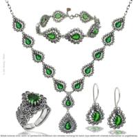 Çağrı Gümüş Gümüş Yeşim Taşlı Mardin Telkari Gerdanlık Set Takı
