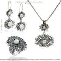 Çağrı Gümüş Gümüş İnci El İşi Telkari Üçlü Set Takı