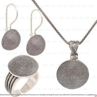 Çağrı Gümüş Midyat Gümüş El İşi Gümüş Üçlü Set Yuvarlak