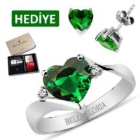 Bella Gloria Yeşil Kuvars Pırlanta Aşk Yüzüğü (Gpy0055) 13