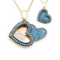 Mina Silver Açılan Kalp İsimli Gümüş Firuze Taşlı Kişiye Özel Altın Kaplama Kolye