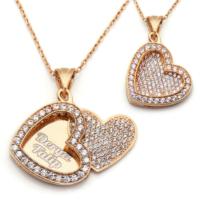 Mina Silver Açılan Kalp İsimli Gümüş Beyaz Taşlı Kişiye Özel Rose Kaplama Kolye