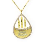Mina Silver Bir Ömür Aşk Yazılı İsimli Gümüş Taşlı Kişiye Özel Altın Rengi Kolye