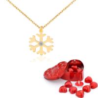 Chavin Kartanesi Pırlanta Taşlı Bayan Altın Kolye Dm70