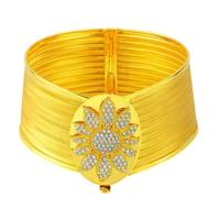Bilezikhane Taşlı 9 Sıralı Hasır Kelepçe Çiçek Desenli 22 Ayar Altın