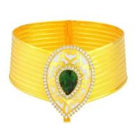 Bilezikhane Yeşil Taşlı 8 Sıra Mineli Hasır Kelepçe 42.00 Gram 22 Ayar Altın