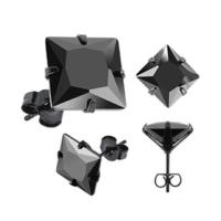 Chavin Unisex Kare Siyah 6 Mm Taşlı Çelik Küpe Cm25