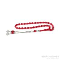 Yeshills Kırmızı Renk Sıkma Kehribar Tesbih 925 Ayar Gümüş Püsküllü
