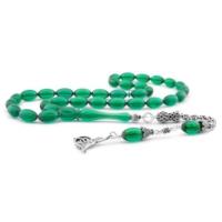 Yeshills Özel Tasarım Gümüş Tuğra Püsküllü Yeşil Sıkma Kehribar Tesbih