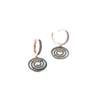 Akyüz Gümüş Nano Turkuaz Taşlı Roz Gümüş Küpe Kpz022