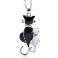 Myfavori Sevimli Çift Kitty Tasarım Siyah Beyaz Kedi Kolye