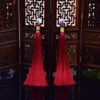 Myfavori Kırmızı Etnik Mavi Ve Beyaz Porselen Uzun Püskül Küpe