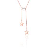 Azuris Silver Çift Yıldız Kristal Buz Kuvars Kolye A000180