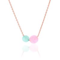 Azuris Silver Pink Kuvars-Aquamarine Kolye A000184