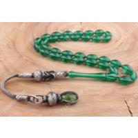 Tesbihevim Gümüş Kazaz Püsküllü Yeşil Renk Ateş Kehribar Tesbih Kht-395