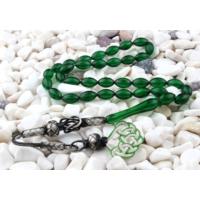 Tesbihevim Yeşil Renk 1000 Ayar Gümüş Kazaz Püsküllü Sıkma Kehribar Tesbih Kht-649