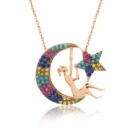 İndigo Takı Karışık Renkli Ay Perisi Gümüş Kolye