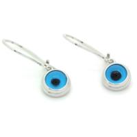 İndigo Takı Mavi Nazar Göz Gümüş Küpe