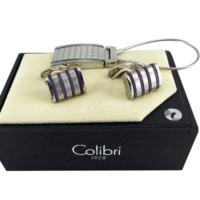 Colibri Çelik Çizgili Ve Kareli Model Kol Düğmesi & Anahtarlık Seti