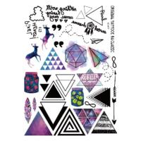 Hane14 Triangles Üçgenler & Geyik Ve Kağıt Uçak Geçici Dövme