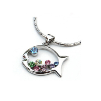 Myfavori Kolye Gümüş Kaplama Renkli Balık Zarif Zincir Kolye