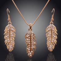 Myfavori Takı Seti Altın Kaplama Tüy Tasarım Avusturya Crystal Takı Seti