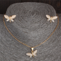 Myfavori Takı Seti Kelebek Avusturya Crystal Zincir Kolye Ve Küpe Takı Seti