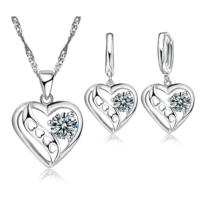 Myfavori Takı Seti Kalp Tasarım Cz 925 Gümüş Kaplama Trendy Kolye Ve Küpe Takı Seti